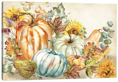 Watercolor Harvest Pumpkin landscape Canvas Art Print