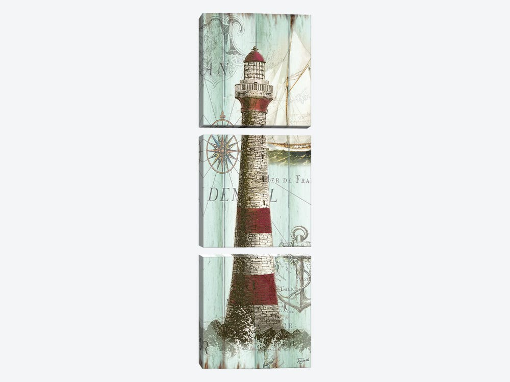 Antique La Mer Lighthouse Panel I 3-piece Canvas Art