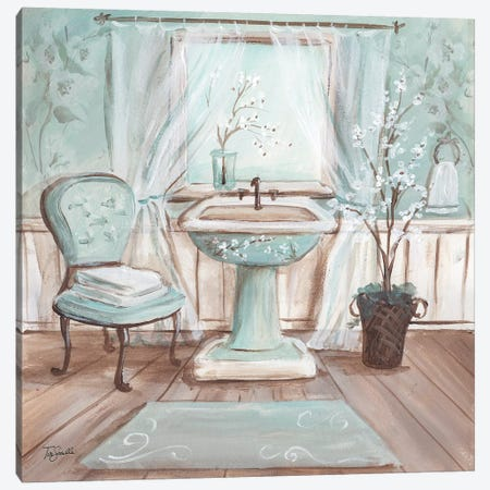 Aqua Blossom Bath I Canvas Print #TSS201} by Tre Sorelle Studios Canvas Art Print