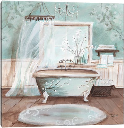 Aqua Blossom Bath II Canvas Art Print