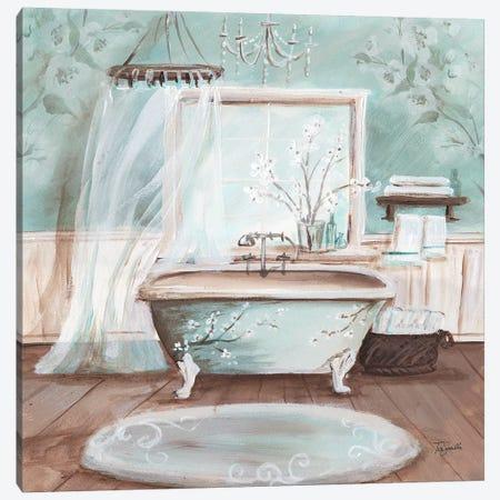 Aqua Blossom Bath II Canvas Print #TSS202} by Tre Sorelle Studios Art Print
