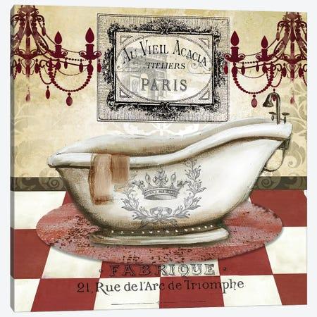 Red French Bath II Canvas Print #TSS232} by Tre Sorelle Studios Canvas Wall Art