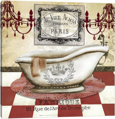 Red French Bath II Canvas Art Print