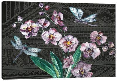 Boho Orchid landscape black Canvas Art Print