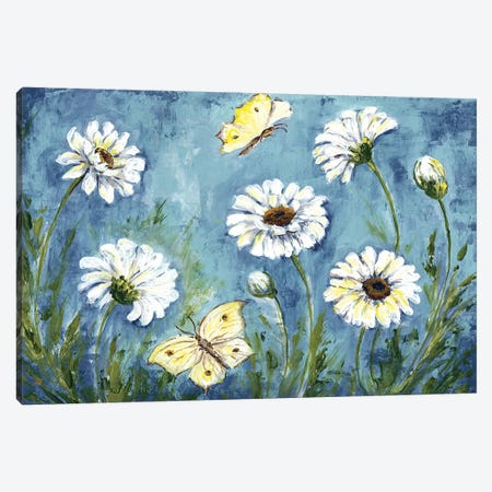 Daisies & Butterfly Meadow Canvas Print #TSS27} by Tre Sorelle Studios Canvas Artwork