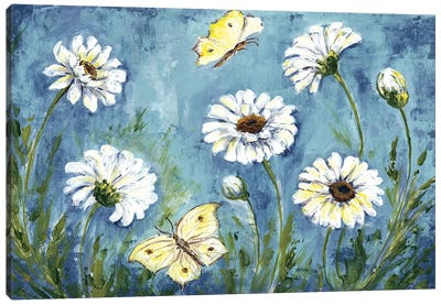 Daisies & Butterfly Meadow Canvas Art Print