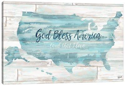 God Bless America USA Map Canvas Art Print