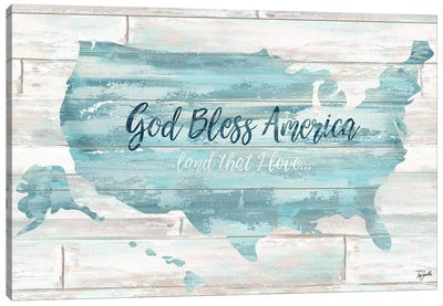 God Bless America USA Map Canvas Art Print