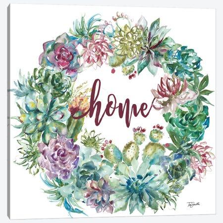 Succulent Garden Wreath Home Canvas Print #TSS64} by Tre Sorelle Studios Canvas Wall Art