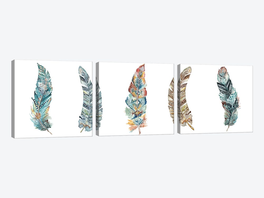 Tribal Feathers Panel by Tre Sorelle Studios 3-piece Art Print