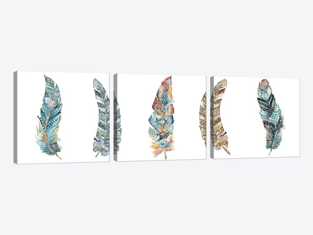 Tribal Feathers Panel by Tre Sorelle Studios 3-piece Art Print