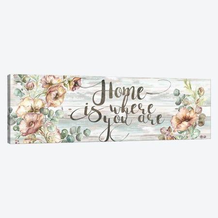 Blush Poppies & Eucalyptus Home Sign Canvas Print #TSS7} by Tre Sorelle Studios Canvas Art Print
