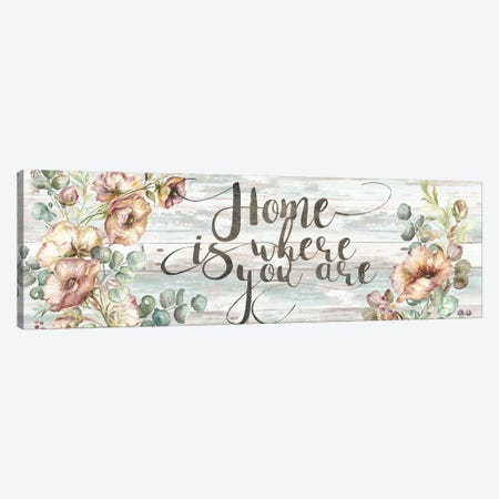 Blush Poppies & Eucalyptus Home Sign Canvas Print #TSS7} by Tre Sorelle Studios Canvas Art Print