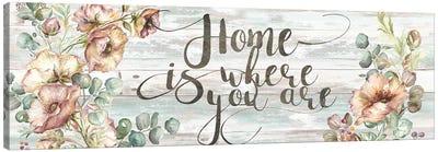 Blush Poppies & Eucalyptus Home Sign Canvas Art Print