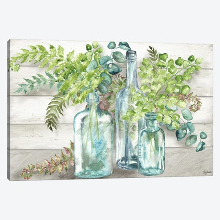 Vintage Bottles & Ferns Landscape Canvas Print #TSS83} by Tre Sorelle Studios Canvas Print