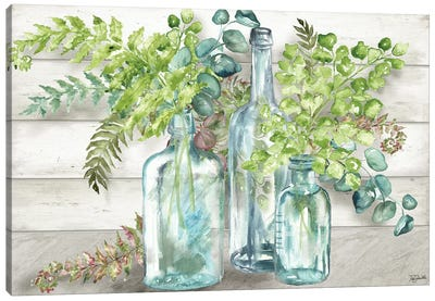 Vintage Bottles & Ferns Landscape Canvas Art Print