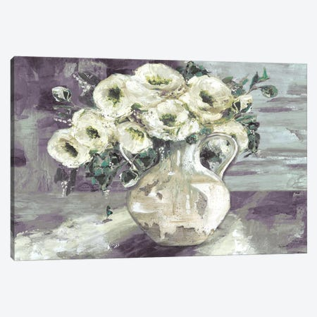 White Flowers In Pottery Pitcher Canvas Print #TSS86} by Tre Sorelle Studios Canvas Artwork