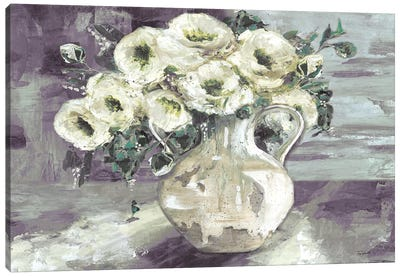 White Flowers In Pottery Pitcher Canvas Art Print