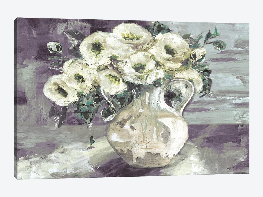 White Flowers In Pottery Pitcher by Tre Sorelle Studios 1-piece Canvas Print