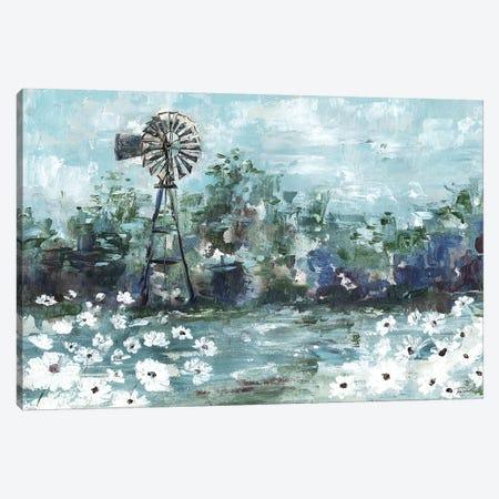 Windmill & Daisies Landscape Canvas Print #TSS88} by Tre Sorelle Studios Art Print