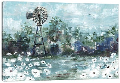 Windmill & Daisies Landscape Canvas Art Print