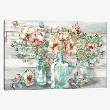 Blush Poppies & Eucalyptus In Bottles Landscape Canvas Print #TSS8} by Tre Sorelle Studios Canvas Art