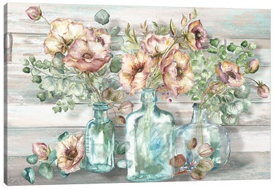 Blush Poppies & Eucalyptus In Bottles Landscape Canvas Art Print