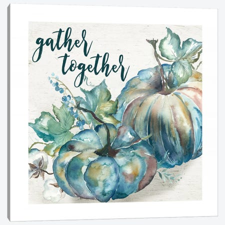 Blue Watercolor Harvest  Square Gather Together Canvas Print #TSS90} by Tre Sorelle Studios Canvas Art