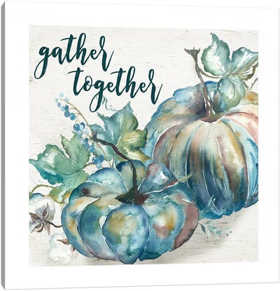 Blue Watercolor Harvest  Square Gather Together Canvas Art Print