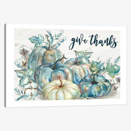 Blue Watercolor Harvest Pumpkin Give Thanks I Canvas Print #TSS91} by Tre Sorelle Studios Canvas Art