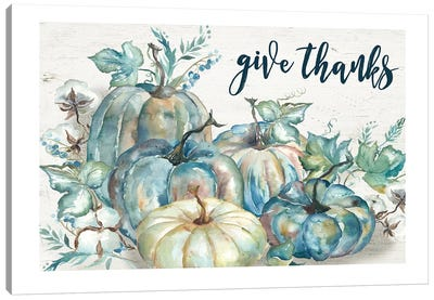 Blue Watercolor Harvest Pumpkin Give Thanks I Canvas Art Print