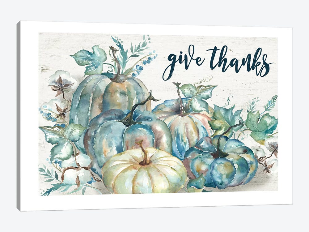 Blue Watercolor Harvest Pumpkin Give Thanks I by Tre Sorelle Studios 1-piece Canvas Print