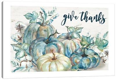 Blue Watercolor Harvest Pumpkin Give Thanks I Canvas Art Print