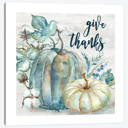Blue Watercolor Harvest Pumpkin Give Thanks II Canvas Print #TSS92} by Tre Sorelle Studios Canvas Art