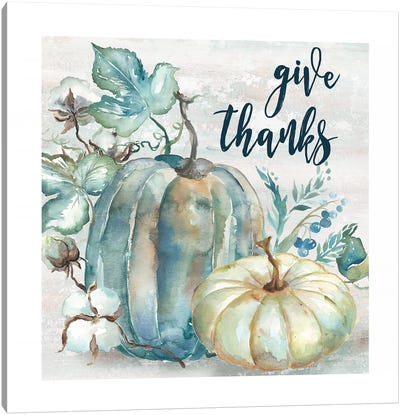 Blue Watercolor Harvest Pumpkin Give Thanks II Canvas Art Print
