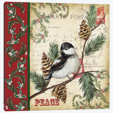 Christmas Bird Postcard I Canvas Print #TSS93} by Tre Sorelle Studios Canvas Artwork