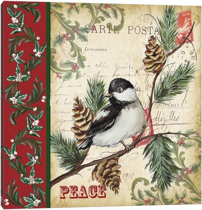 Christmas Bird Postcard I Canvas Art Print