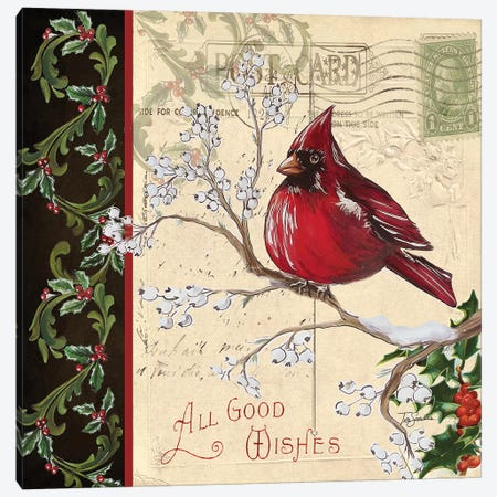 Christmas Bird Postcard III Canvas Print #TSS95} by Tre Sorelle Studios Art Print