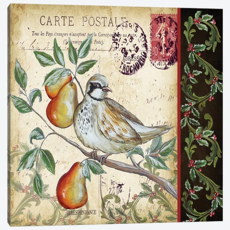 Christmas Bird Postcard IV Canvas Print #TSS96} by Tre Sorelle Studios Canvas Art Print