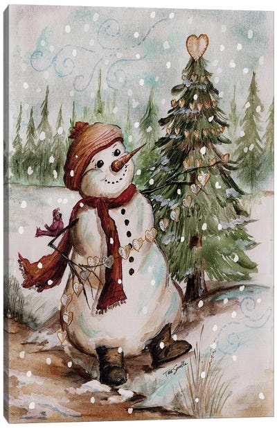 Country Snowman I Canvas Art Print