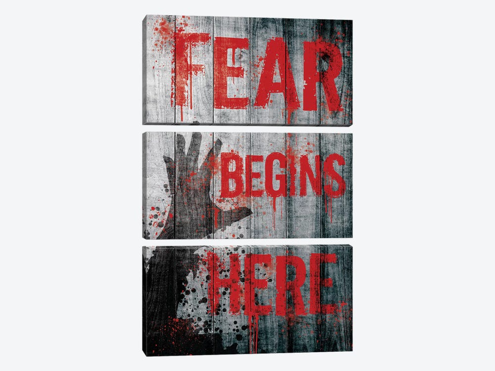 Fear Begins Here by 5by5collective 3-piece Canvas Artwork