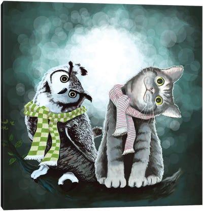 Cat And Owl Canvas Art Print