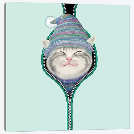 Cat In The Zip Canvas Print #TUM18} by Tummeow Canvas Art
