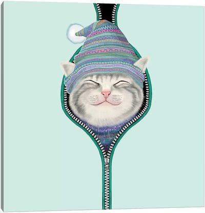Cat In The Zip Canvas Art Print