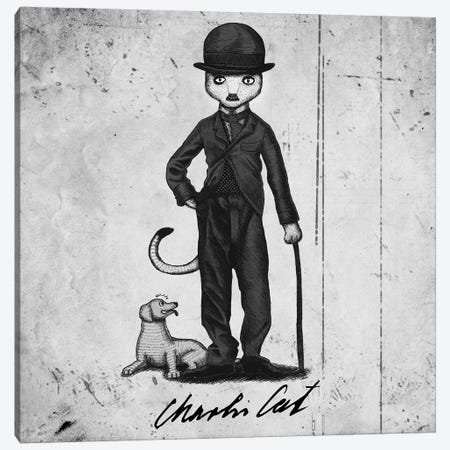 Charlie Cat Canvas Print #TUM22} by Tummeow Art Print