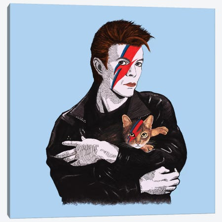 David & The Cat Canvas Print #TUM28} by Tummeow Art Print