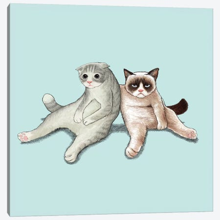 Angry Cat And Friend Canvas Print #TUM2} by Tummeow Art Print