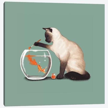 Goldfish Need Friend Canvas Print #TUM30} by Tummeow Canvas Artwork