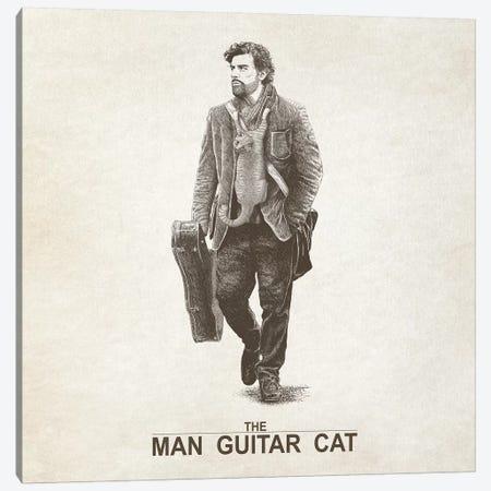 The Man Guitar Cat Canvas Print #TUM58} by Tummeow Canvas Wall Art
