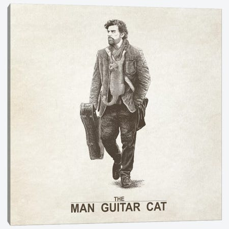 The Man Guitar Cat Canvas Print #TUM58} by Tummeow Canvas Wall Art